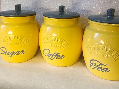 Yellow and Grey Push Top tea, coffee and Sugar Jars
