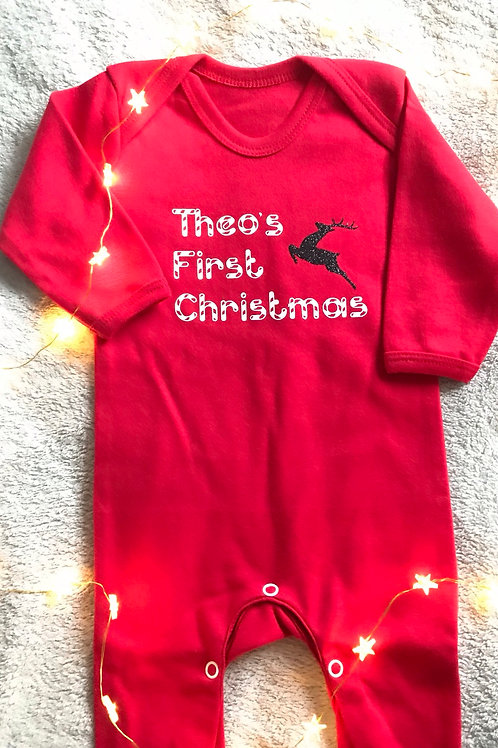 Baby's Personalised First Christmas Babygrow