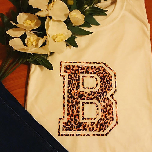 Leopard Print initial t-shirt
