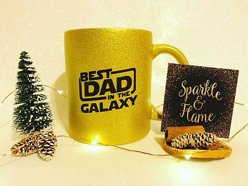 Best Dad in the Galaxy Glitter Mug