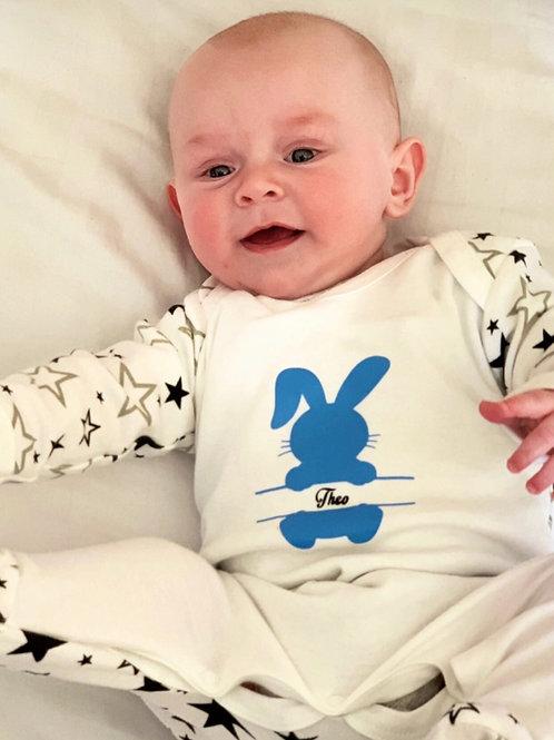 Personalised bunny Babygrow