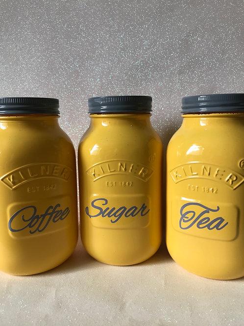 Yellow and Grey 1ltr Screw Lid Tea, Coffee and Sugar Jars