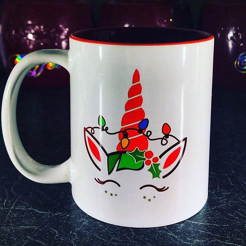 Christmas Unicorn with lights Mug