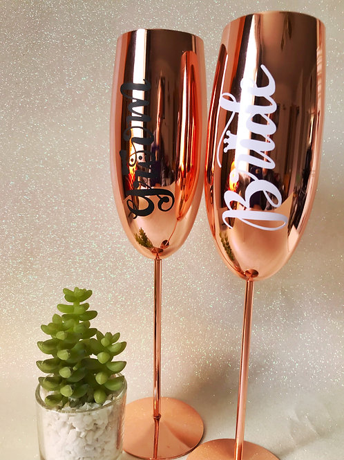 Couples Rose Gold flutes