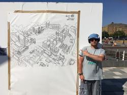 Live Art - Drawing Gloucester Docks on location