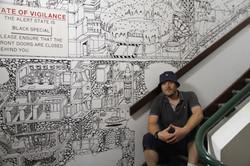 JOLT stairwell illustration mural