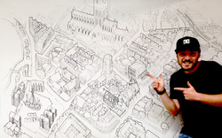 Live Art - Drawing Gloucester City from above on location