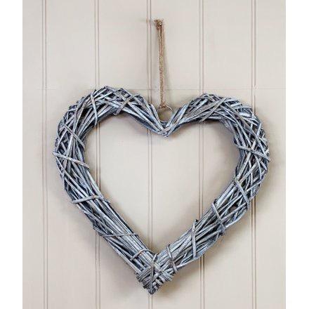 Nordic Yule Grey Rattan Heart Wall Hanger 40cm