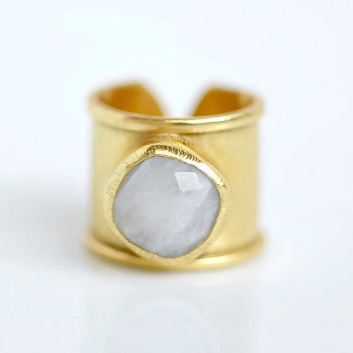 Moonstone Gold Plated Cuff Ring by Felix Z New York