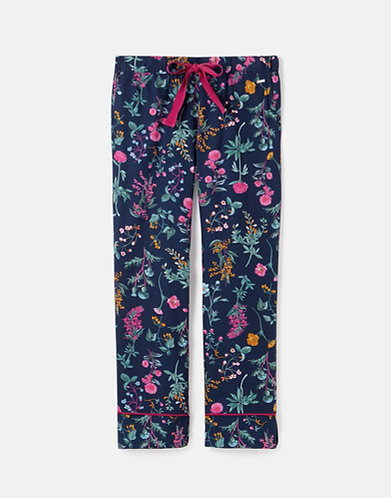 Luna Long Cotton Pyjama Bottoms in Navy Florals by Joules