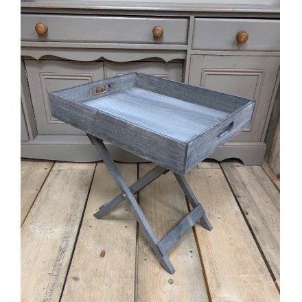 Foldable Grey Table with Removable Tray