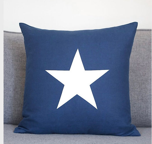 Navy Cotton Cushion With White Star Large Square 50 x 50cm by Chalk UK