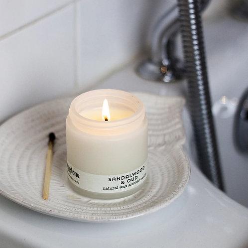 Natural Wax Candle Jar Sandalwood & Oud by Brownstone London