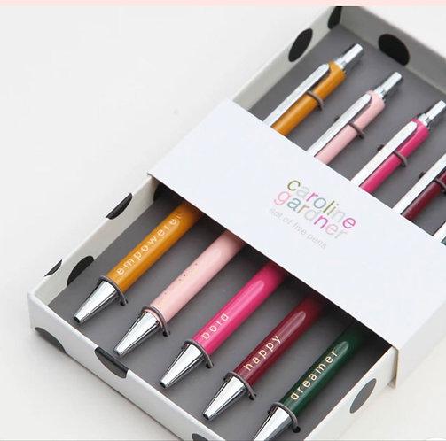 Gift Boxed Set of 5 Slogan Pens by Caroline Gardner