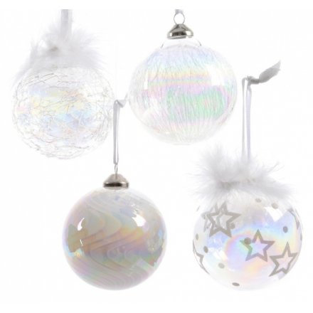 Winter Wonderland Real Glass Lustre Bauble Assorted