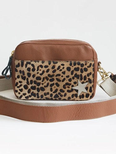 Lila Leather Camera Bag in Animal Print by White Stuff