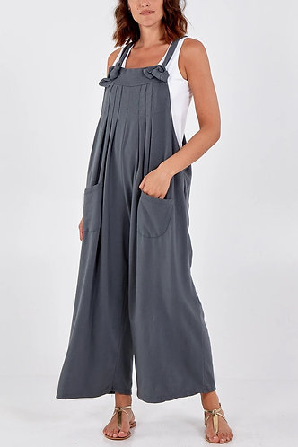 Rosa Pintuck Detail Thick Cotton Dungarees in Grey