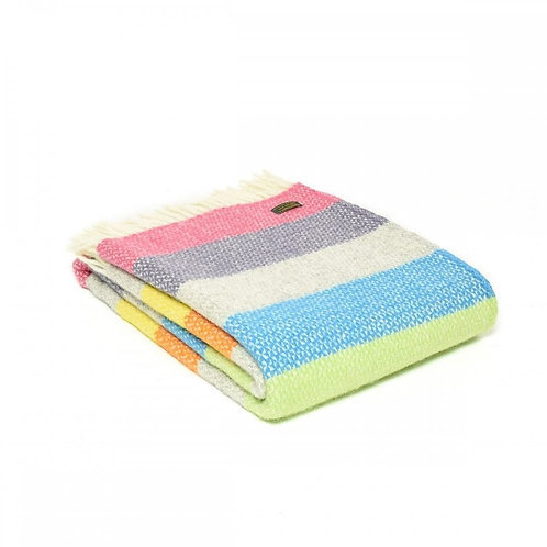 Pure New Wool Throw Rainbow Stripes Large by Tweedmill Textiles