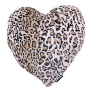 Luxurious Leopard Print Faux Fur Heart Cushion by Mars & More