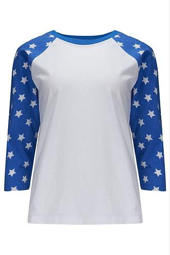 Phoebe Baseball Top Blue & White Stars by Sugarhill Brighton