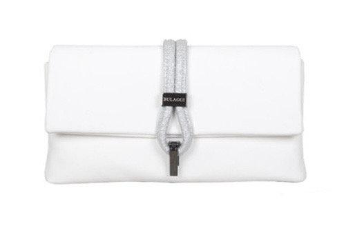 White Bibis Clutch Bag with Metallic Strap by Bulaggi