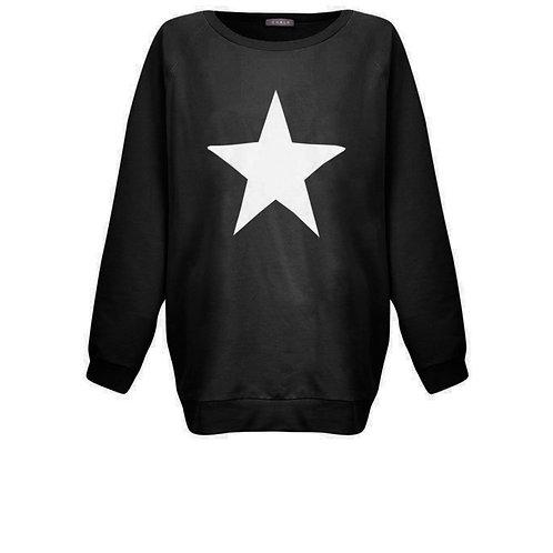 Nancy Sweatshirt in Black with White Star By Chalk