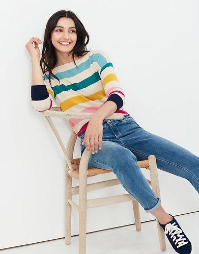 Viviana Multi Stripes Slash Neck Jumper by Joules