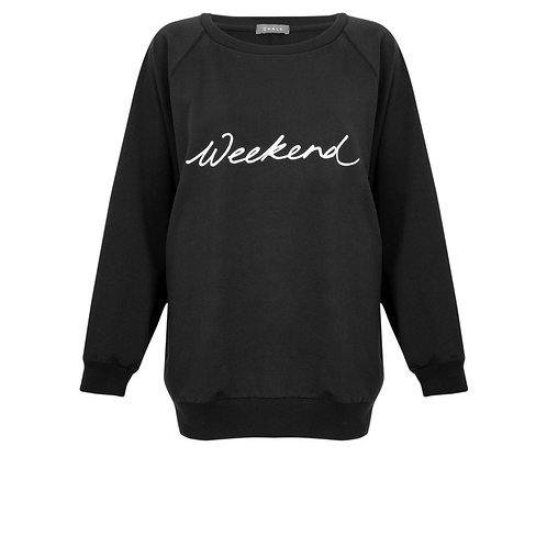 Nancy Sweatshirt in Black with White Weekend Motif  By Chalk