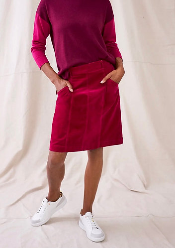 Josie Vibrant Pink Cord Skirt by White Stuff