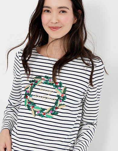 Harbour Luxe Christmas Wreath Long Sleeve Top by Joules
