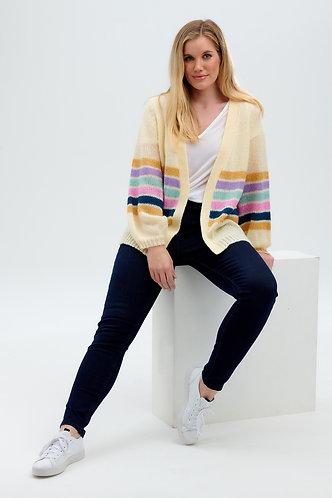 Yvette Colour Stripe Cardigan in Cream & Colours by Sugarhill Brighton