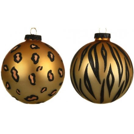 Glam Christmas Real Glass Animal Print Handpainted Bauble