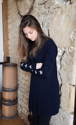 Cashmere Longline Navy Cardigan With Sequin Star Detail by Luella