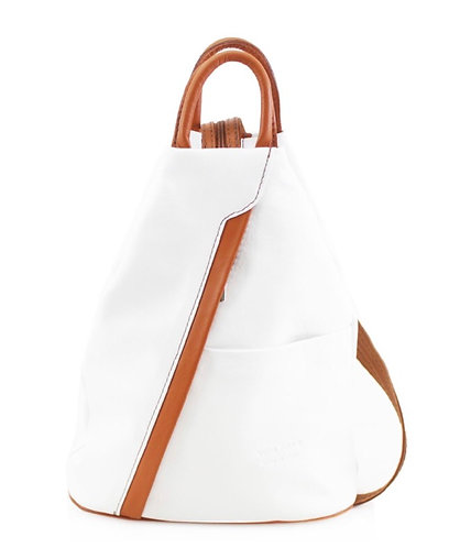Italian Premium Soft Leather Backpack in Snow & Tan