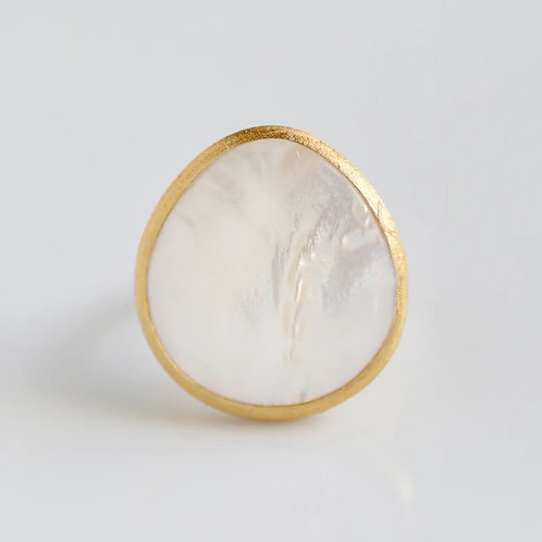 Sterling Silver 22ct Gold Dipped Mother of Pearl Ring by Felix Z New York