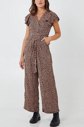 Wrap Front Leopard Print Jumpsuit by QED