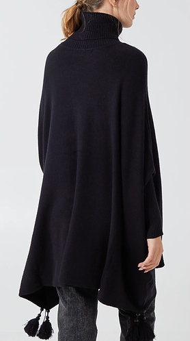 Italian Cowl Neck Supersoft Tassel Poncho in Black