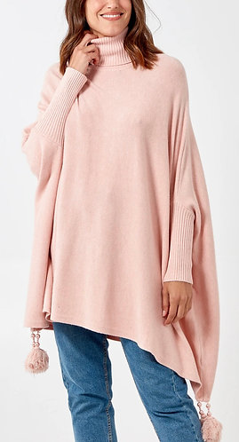 Italian Cowl Neck Supersoft Tassel Poncho in Baby Pink