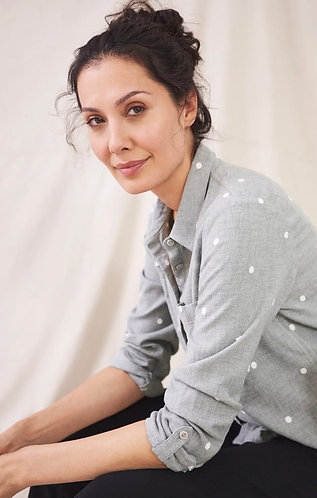Emilia Organic Cotton Embroidered Shirt in Grey by White Stuff