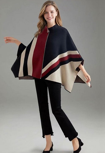 Italian Knitted Zip Front Graphic Print Cape in Navy, Burgandy & Cream