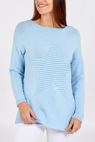 Supersoft Embossed Star Italian Jumper In Baby Blue