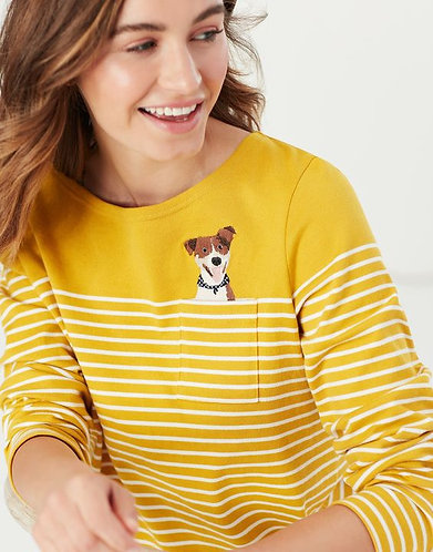 Harbour Long Sleeve Jersey Top Gold Stripe Embroidered Dog by Joules