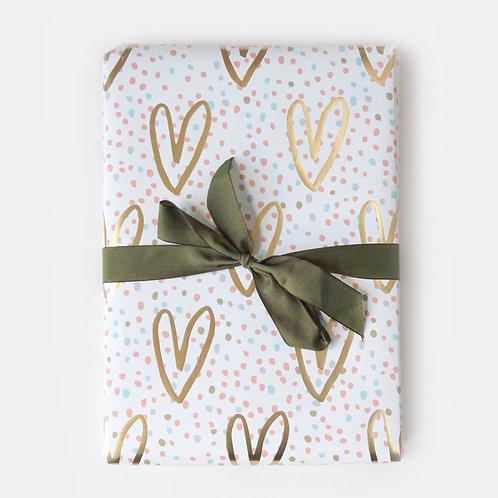 Gold Glitter Hearts Gift Wrap Sheet by Caroline Gardner