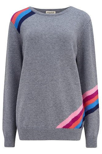 Stacey Fractured Prism Jumper in Grey & Multi by Sugarhill Brighton