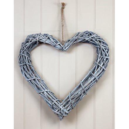 Nordic Yule Grey Rattan Heart Wall Hanger 50cm