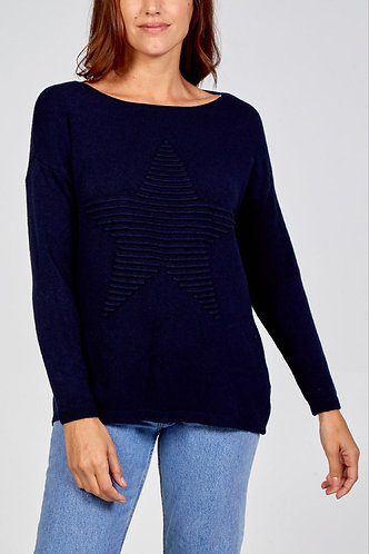 Supersoft Embossed Star Italian Sweater In Navy Blue