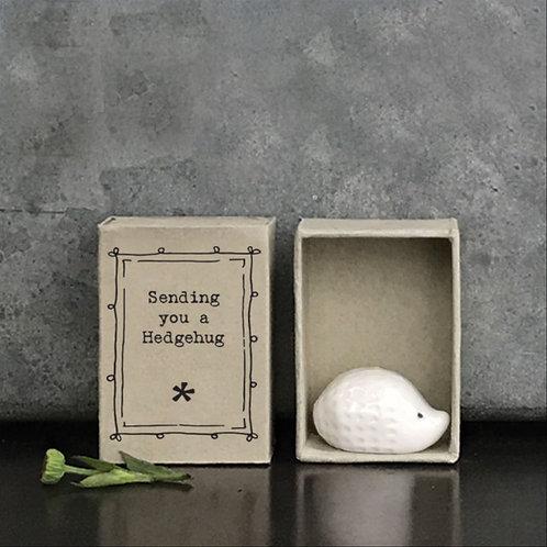 East of India Boxed Porcelain Hedgehog Sending You a Hedgehug
