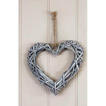 Nordic Yule Grey Rattan Heart Wall Hanger 20cm