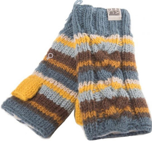 Icelandic Style Fingerless Mitts With Recycled Fleece by Kusan London