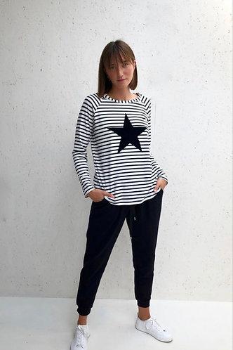 Tasha Striped Black & White with Big Star By Chalk